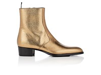 Saint Laurent Men's Wyatt Leather Ankle Boots Gold