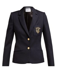 Pallas X Claire Thomson Jonville Eton Crest Embroidered Wool Blazer Navy