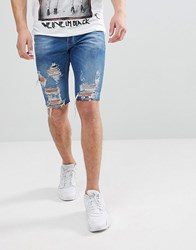 Religion Slim Fit Denim Shorts In Blue With Rips Washed Blue