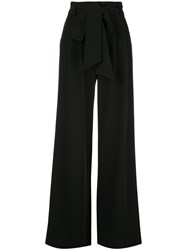 Milly Tie Waist Flared Trousers Black