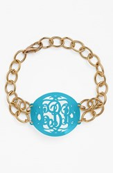 Women's Moon And Lola 'Annabel' Medium Oval Personalized Monogram Bracelet Turquoise Gold Nordstrom Exclusive