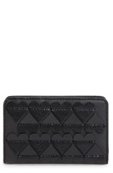 Marc Jacobs Women's Embossed Heart Compact Leather Wallet Black