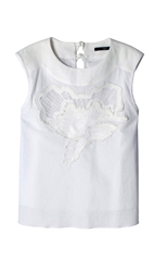 Tibi Floral Embroidered Sleeveless Top