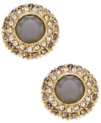 Inc International Concepts Gold Tone Gray Stone And Pave Crystal Crown Stud Earrings Only At Macy's