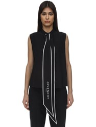 Givenchy Scarf Collar Silk Sleeveless Top Black