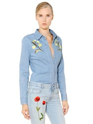Stella Mccartney Floral Embroidered Cotton Denim Shirt