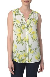 Nydj Women's Print Pleat Back Sleeveless Split Neck Blouse Summer Citrus Soleil