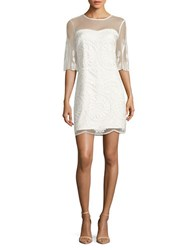 Belle By Badgley Mischka Embroidered Scalloped Dress White