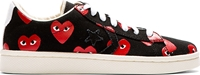 Comme Des Garcons Black And Red Heart Print Converse Pro Edition Sneakers