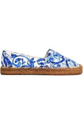 Dolce And Gabbana Printed Cotton Blend Jacquard Espadrilles Blue