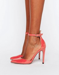 Little Mistress Pointed Court Heeled Shoes With Ankle Strap Coral Orange