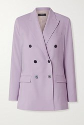 Theory Double Breasted Wool Blend Blazer Lilac