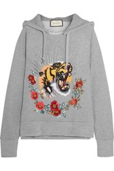 Gucci Embroidered Embellished Cotton Jersey Hooded Top Gray