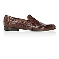 Barneys New York Men's Woven Venetian Loafers Dark Brown