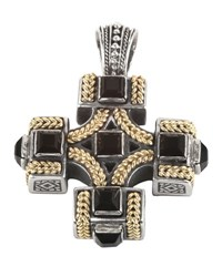 Konstantino Men's Sterling Silver And 18K Gold Cross Pendant With Onyx