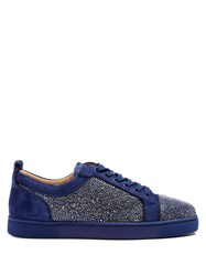Christian Louboutin Louis Strass Embellished Low Top Leather Trainers Blue