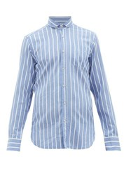The Gigi Harvey Striped Cotton Blend Shirt Blue White