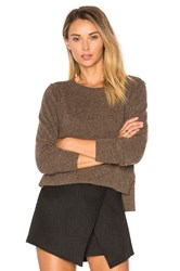 Autumn Cashmere Crop Crew Neck Sweater Brown