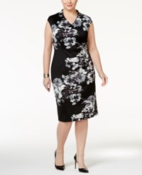 Si Fashions Sl Plus Size Floral Scuba Sheath Dress Black Gray