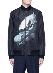Christopher Kane 'Car Crash' Print Bomber Jacket Black