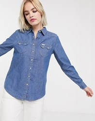 Lee Regular Fit Western Denim Shirt Blue