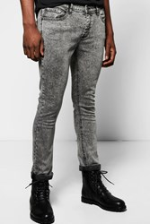 Boohoo Skinny Fit Acid Wash Jean Regular Charcoal