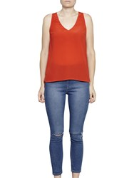 French Connection Sania Plains Sleeveless V Neck Top Margo Red