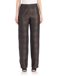 Maison Martin Margiela Side Button Check Pants Dark Brown