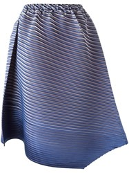 Issey Miyake Pleats Please By Asymmetric Pleated Skirt Blue