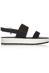 Karl Lagerfeld Leather And Canvas Slingback Sandals