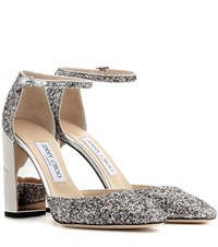 Jimmy Choo Mabel 95 Glittered Leather Pumps Silver