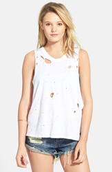 Volcom 'Cowl Me' Destroyed Muscle Tank White