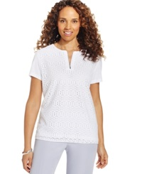 Alfred Dunner Petite Lace Overlay Zipper Tee White