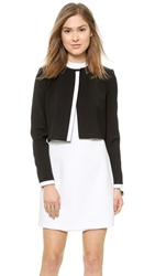 Alice Olivia Mock Neck Cropped Jacket Black White
