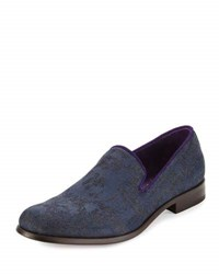 Robert Graham Prince Printed Denim Loafer Blue