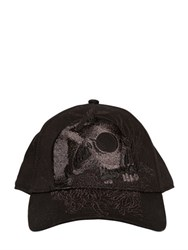 Diesel Skull Embroidered Canvas Baseball Hat