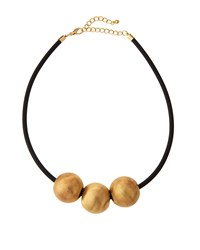 Kenneth Jay Lane Golden Three Bead Rubber Cord Necklace Black