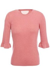 Red Valentino Redvalentino Woman Fluted Ribbed Cashmere And Silk Blend Sweater Antique Rose