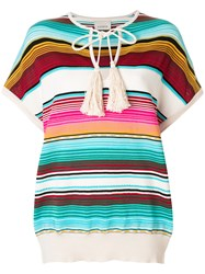 Laneus Shortsleeved Striped Knitted Top Multicolour