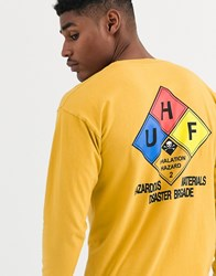 Huf Hazard Long Sleeve T Shirt With Back Print In Yellow