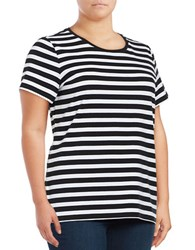 Lord And Taylor Plus Roundneck Short Sleeve Striped Tee Black