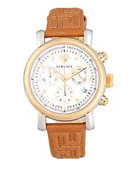 Versace Day Glam Leather Strap Watch Brown