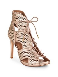 Joie Elvie Perforated Leather Lace Up Booties Rose Gold