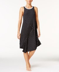 Dkny Resort Printed Lounge Nightgown Black Ivory Dot