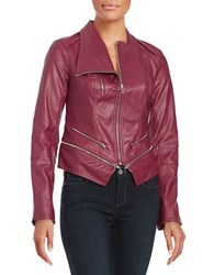 Guess Larissa Faux Leather Moto Jacket Red
