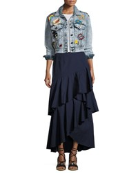 Alice Olivia Chloe Cropped Denim Jacket With Patches Light Blue