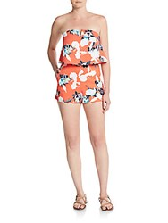 Saks Fifth Avenue Red Floral Strapless Short Jumpsuit Red Multi
