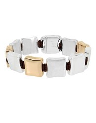 Robert Lee Morris Bold Moves Two Tone Square Link Bracelet Multi