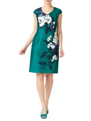 Jacques Vert Petite Print Shantung Dress Bright Green