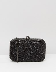 Chi Chi London Beaded Box Clutch In Black Black